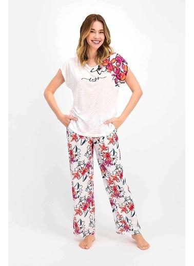 Arnetta Floral Krem Kadın Kısa Kol Pijama Takımı Krem